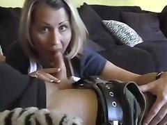 Lustful blonde MILF gives deepthroat blowjob on camera