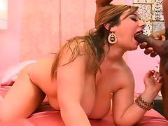 Huge tits plumper Alix rides a black shaft