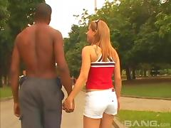 A cute white girl becomes addicted to big black cock