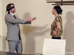 A blindfolded guy gets blown then fucks this smoking hot chick