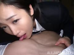 Beautiful Asian teacher demonstrates her cock sucking skills