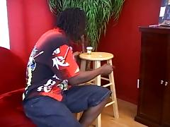 Afro american hair pie gets big black cock action