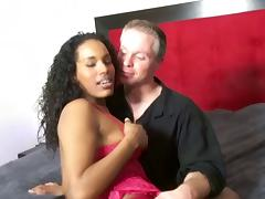 A sexy, curvy black girl gets her fill of big, white cock
