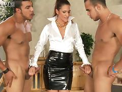 Devoted milf in a two monster cocks bizarre delivering erotic blowjobs and handjobs
