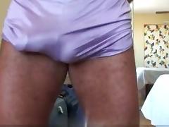 Purple Jogging Shorts Bulge Rub