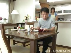 An Asian MILF blows him, fucks him, and lets him cum inside her