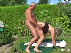 German Grandpa and Grandma fuck in Garden