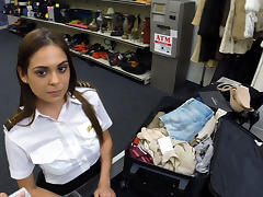 Brunette spanish stewardess selling her luggage sells her pussy