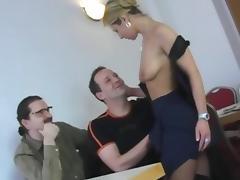 Old men fuck young waitress