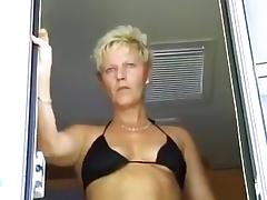 Bikini-clad skinny granny takes dick in her mature pussy