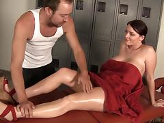 After workout she gets a massage and a nice deep dicking