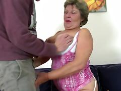 Real granny takes young boy's cock in mouth and pussy