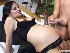 Pregnant brunette gets anally pounded