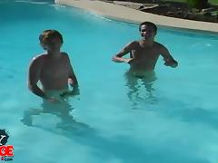 Gay teen with a nice body getting his cock sucked next to his swimming pool