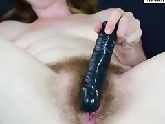 my hairy pussy and my black dildo