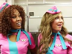 Blonde stewardess has her pussy eaten out and fucked by the pilot