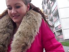 Slut in a fur trimmed coat offered cash to get fucked