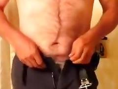 Straight Securtiy Cop takes a Shower and has me film him!