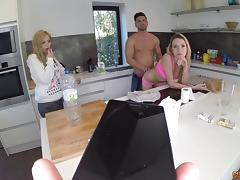 Experienced blonde girl with large breasts gets it in the doggy style