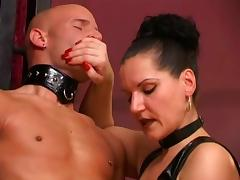 Dominatrix jack-off 4 slaves in session