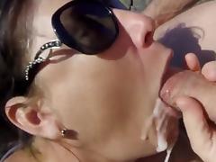 Nude Beach - Brunette Mature Huge CIM Facial