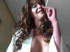Smoking Slut Uses Her Pussy And Hands For Nuts