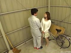 Bike-riding Japanese girl decides to suck and to ride the dick