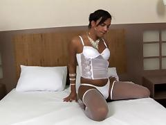 Magnificent transsexual whore with big tits getting fucked hard in her tight asshole
