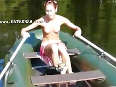 Amateur lithuanian Natasha in the boat