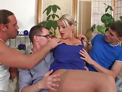 Breathtaking blonde agrees to be gangbanged by three horny guys