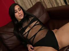 Pounding a round ass girl in a sexy black lingerie set