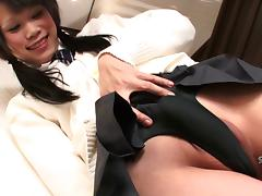 Alluring shemale from Japan plays with the toy and strokes her dick