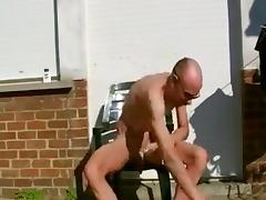 Shaving myselfoutsidein my backyard