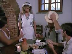 Horny waitress really enjoys three cocks