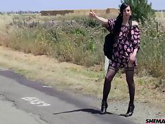 Tranny hitchhiker goes home with a guy and gets butt fucked
