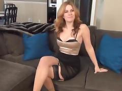 Sexy girl gets hogtied and gagged on couch