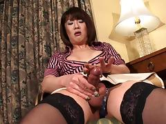 Tempting shemale removes her colorful clothes to do the masturbation