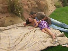 During a picnic this couple has lunch then gets their fuck on