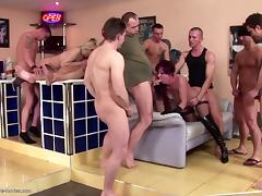 Mature moms get gangbang and pissing showers