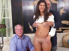 Threesome, Grandpa, Group, Hardcore, Latina, Old Man