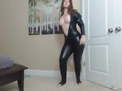 Girl in Latex Catsuit Dancing