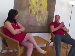 Pregnant brunette fucked on the floor