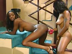 Bar, Bar, Big Tits, Black, Couple, Ebony