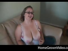 Busty chubby nerd can't wait to taste a throbbing shaft