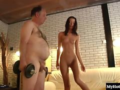 Fat guy with a big belly wants to feel a skinny babe's pussy