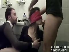 Blindfolded Amateur College Teen Sucking Cocks