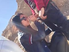 Doggy style fuck with horny college girl in mountains
