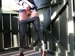 Public pants wetting and fisting