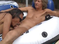 Jamie blows jenny transvestite cock slut in the pool 2