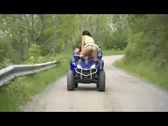 couple fuck on a moving quad bike